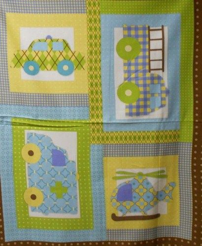 Flannel Transportation Panel Baby Quilt Nap Quilt Fabric Truck Car - product images  of