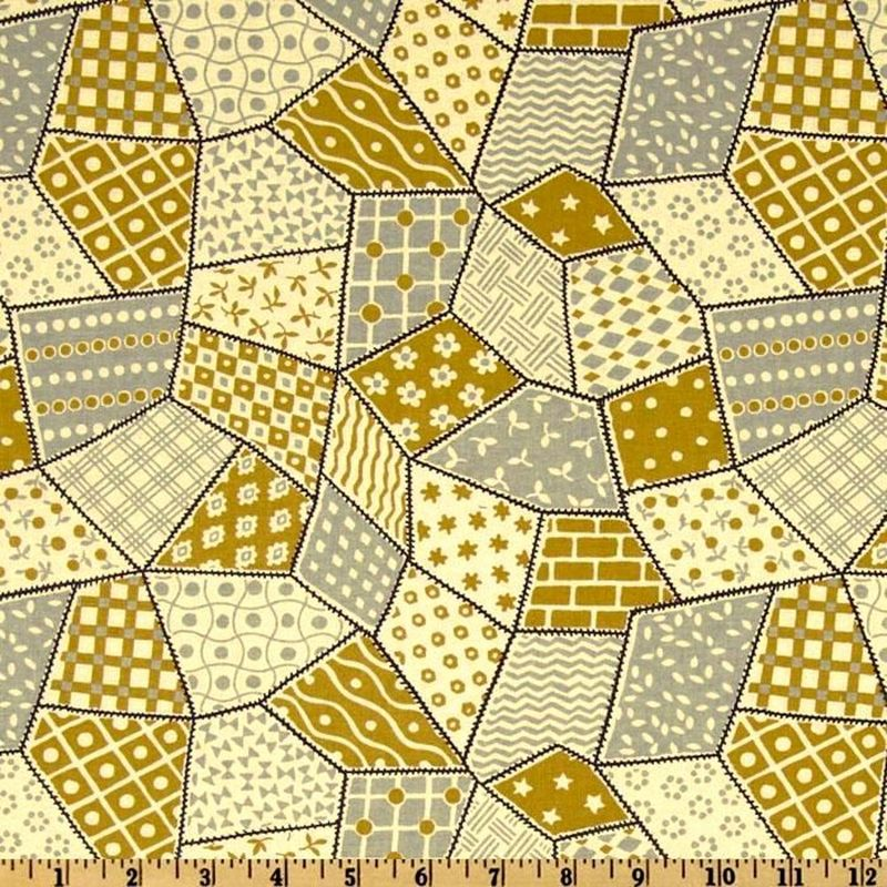 Cotton Quilt Fabric Penelope Collection Crazy Quilt Gold A Griffin  - product image