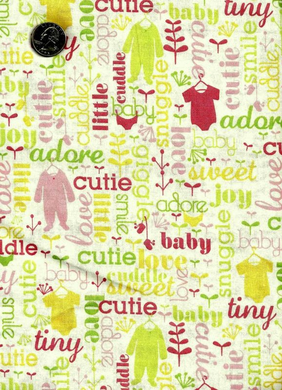 Cotton Quilt Fabric Baby Blooms Girls Pink White Baby Quilts - product image