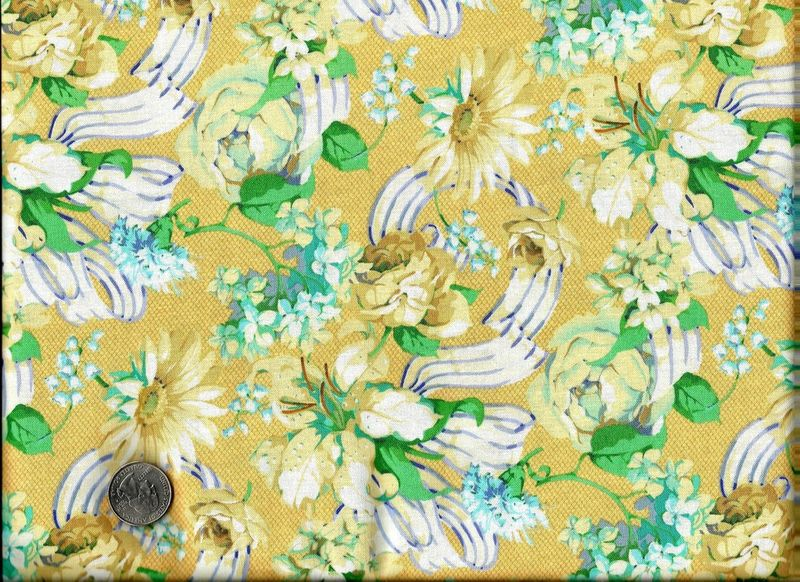 Cotton Quilt Fabric Anniversary Ribbon Floral Fabric Yellow Blue  - product image