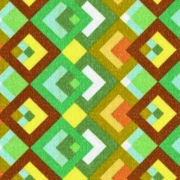 Cotton Quilt Fabric Boxed In Diamonds Green Brown Geometric - product image
