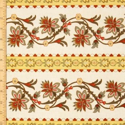 Cotton Quilt Fabric A French Courtyard French Border Yellow Floral  - product images  of