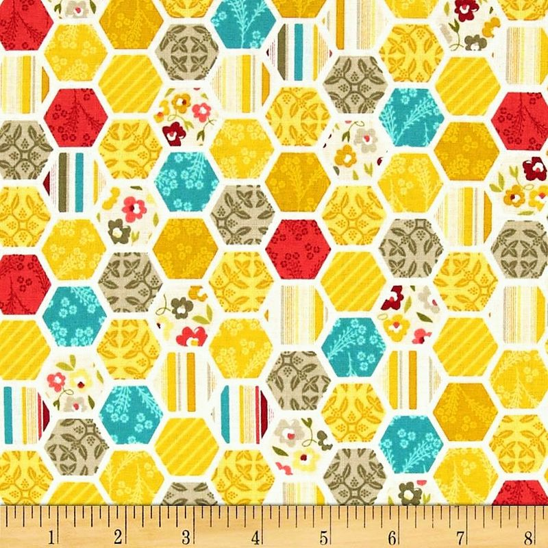 Cotton Quilt Fabric Unforgettable My Mind's Eye Hexagon - product images  of