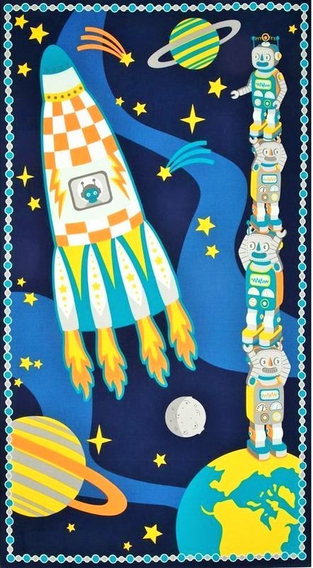 Atomic Bots Robots in Space Wall Hanging Quilt Fabric Panel Atom Molecule Science - product images  of