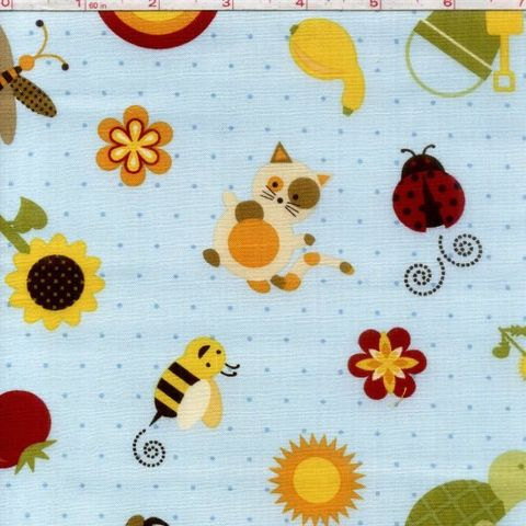 Cotton,Quilt,Fabric,Garden,Patch,Bee,Butterfly,Rainbow,Floral,Blue,quilt fabric,cotton material,auntie chris quilt,sewing,crafts,quilting,online fabric,sale fabric