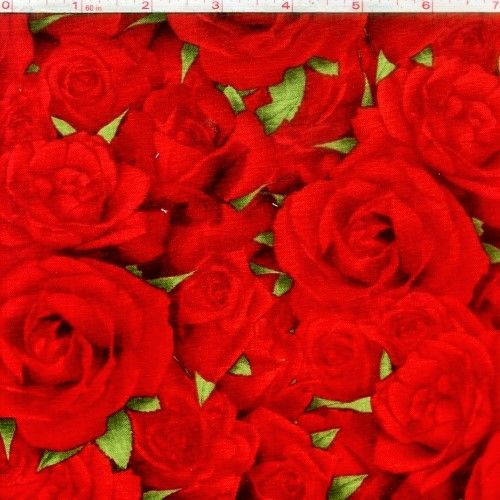 Cotton Quilt Fabric Bed Of Roses Wilmington Red Roses Leaves - product images  of