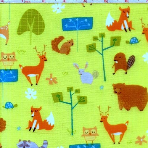 Cotton Quilt Fabric Wonderful Woodlands Critters Green Deer Fox Squirrel  - product image