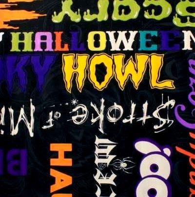 Cotton Quilt Fabric Stroke Of Midnight Halloween Spooky Words Black - product images  of