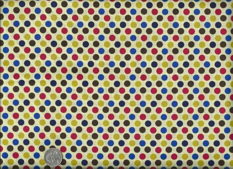 Cotton Quilt Fabric Party Dots Red Green Blue Bright Polka Dots - product image