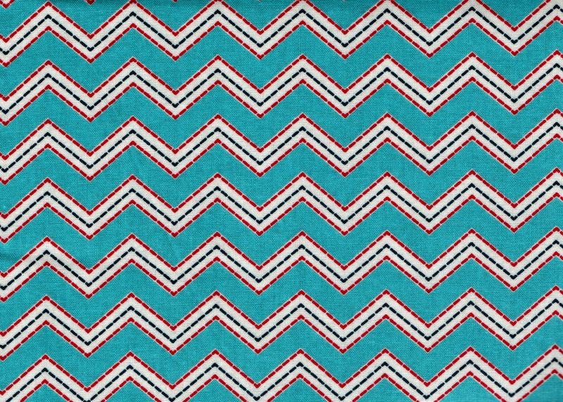 Cotton Quilt Fabric Modern Chevron Stripe Red White Blue  - product image