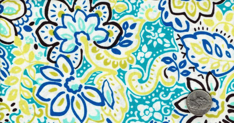 Cotton Quilt Fabric Spirited Curacao Floral Blue Green White - product image