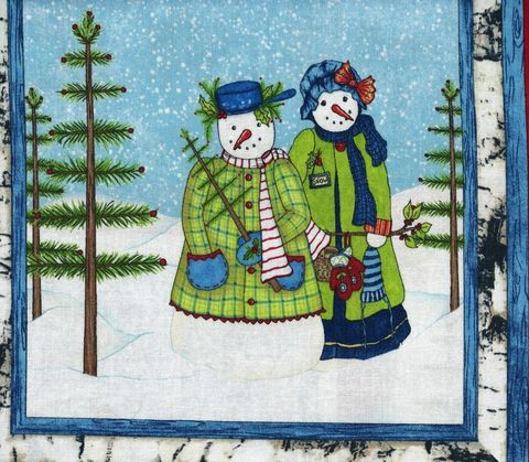 Christmas,Quilt,Fabric,Panel,Cool,Characters,Snowmen,Trees,quilt fabric,cotton material,auntie chris quilt,sewing,crafts,quilting,online fabric,sale fabric