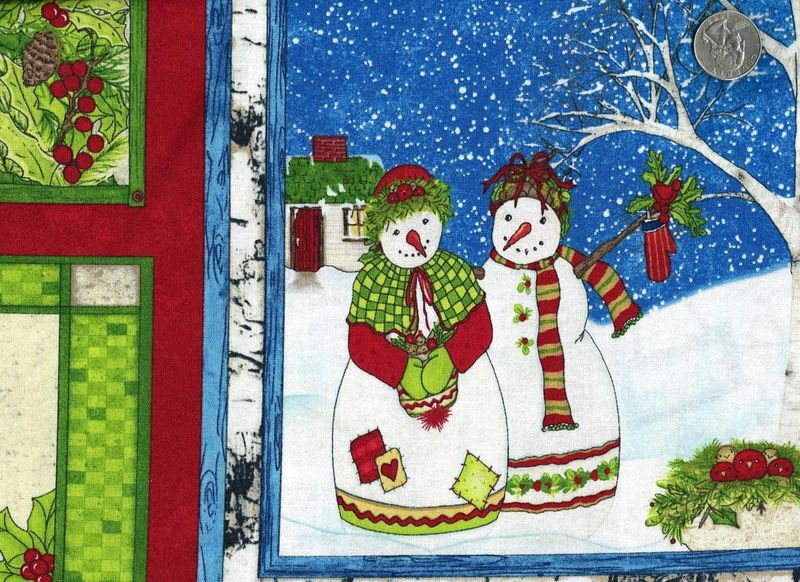 Christmas Quilt Fabric Panel Cool Characters Snowmen Christmas Trees - product images  of