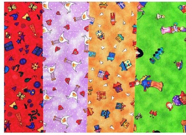 2 Yard Kids Bright Quilt Fabric Medley Red Green Orange Purple - product images  of