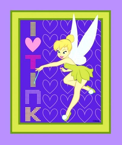 I,Heart,Tink,Tinkerbell,Fabric,Quilt,Panel,Baby,Nap,Wall,Pillow,quilt fabric,cotton material,auntie chris quilt,sewing,crafts,quilting,online fabric,sale fabric