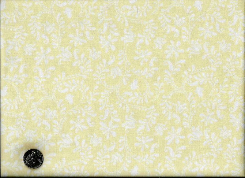 Cotton Quilt Fabric Bird Song Cream Tone On Tone Leaf Off White  - product image