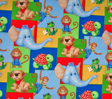 Cotton Quilt Fabric Monkey Business Patty Reed Elephant Frog Dogs  - product images  of