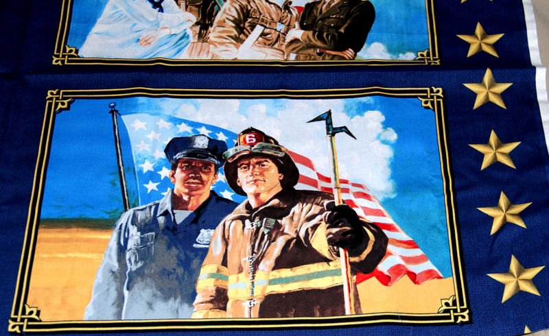 American Heroes Quilt Fabric Panel Firefighter Police 1 Block - product images  of