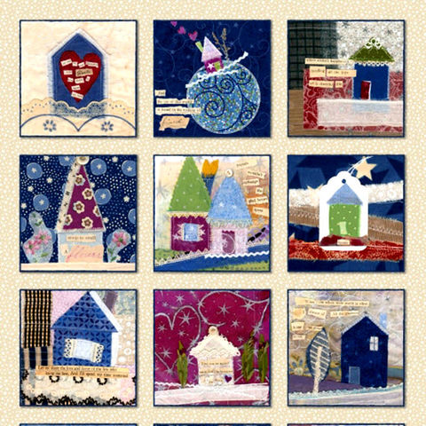 Our,House,Quilt,Fabric,Panel,Tracie,Huskamp,Whimsical,Blocks,Blue,Lilac,quilt fabric,cotton material,auntie chris quilt,sewing,crafts,quilting,online fabric,sale fabric
