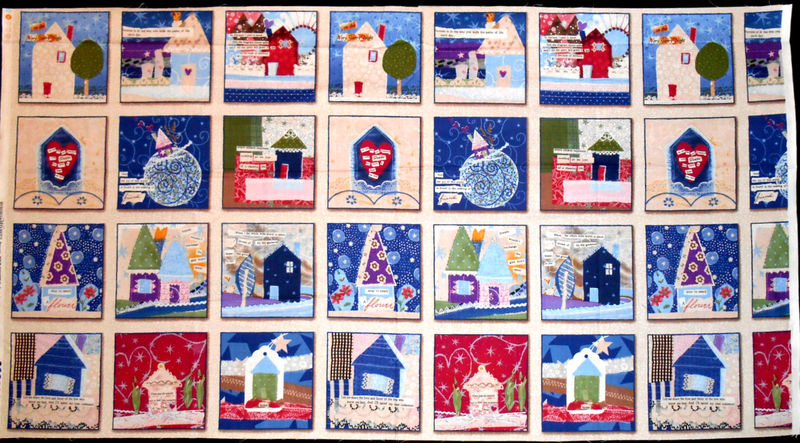 Our House Quilt Fabric Panel Tracie Huskamp Whimsical Blocks Blue Lilac - product images  of