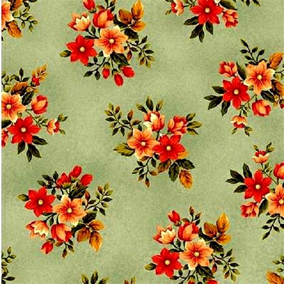 Cotton Quilt Fabric Pheasant Run Floral Reproduction Blue Pink  - product images  of
