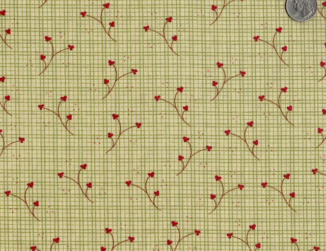 Cotton Quilt Fabric Plaid Buttonweed Floral Check Country - product images  of