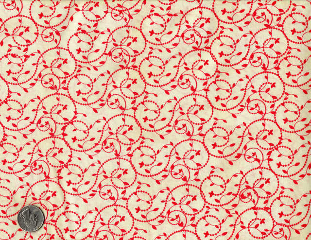 Cotton Quilt Fabric Vine Dot Leaving Riverton Red Off White - product image