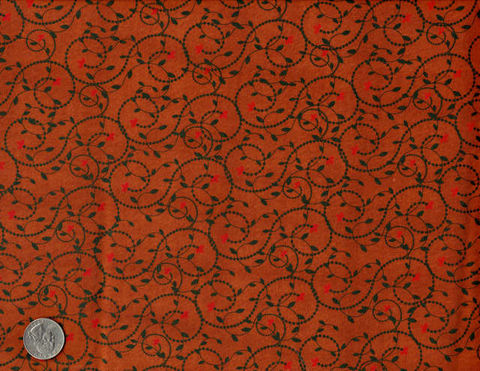 Cotton,Quilt,Fabric,Vine,Dot,Leaving,Riverton,Dark,Rust,Red,Green,quilt fabric,cotton material,auntie chris quilt,sewing,crafts,quilting,online fabric,sale fabric