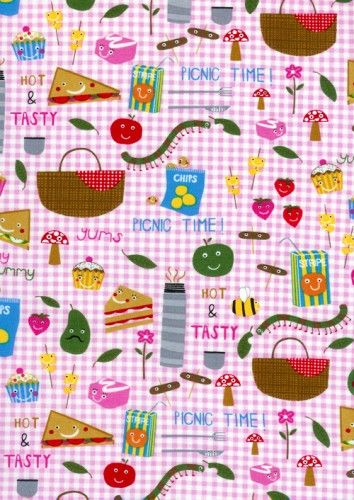 Cotton Quilt Fabric Picnic Fun Fabric Pink Gingham Food - product image