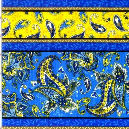 Cotton Quilt Fabric St Croix Stripe Floral Paisley Blue Yellow - product image