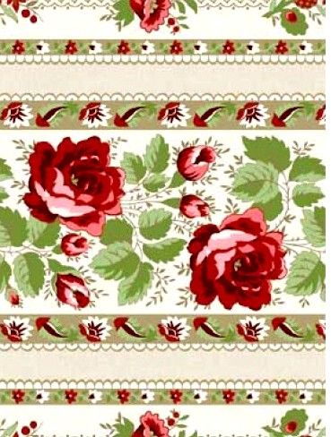Cotton Quilt Fabric With All My Heart Floral Stripes Beige Red Green  - product images  of