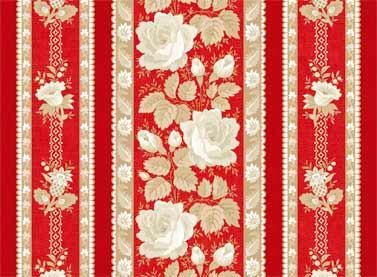 Cotton Quilt Fabric With All My Heart Floral Stripes Red Beige  - product images  of