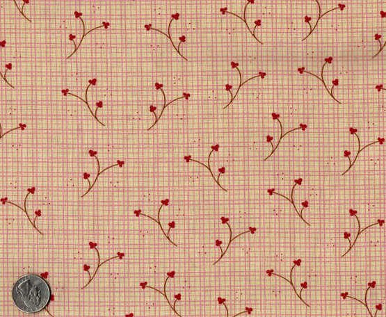Cotton Quilt Fabric Plaid Buttonweed Floral Pink Check Country - product image