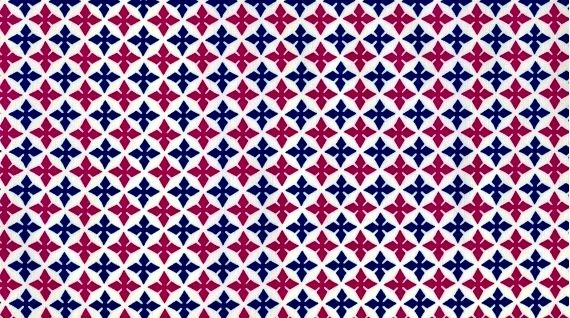 Cotton Quilt Fabric Dear Stella Fuchsia Blue Medallions White Geometric - product image