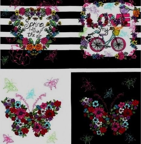 Floral,Panel,M,Miller,Fabric,Spring,Is,In,The,Air,Black,Cotton,quilt fabric,cotton material,auntie chris quilt,sewing,crafts,quilting,online fabric,sale fabric