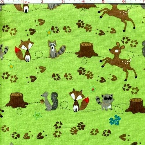 Cotton Quilt Fabric Fox Trails Baby Quilt Fabric Deer Raccoon Green  - product image