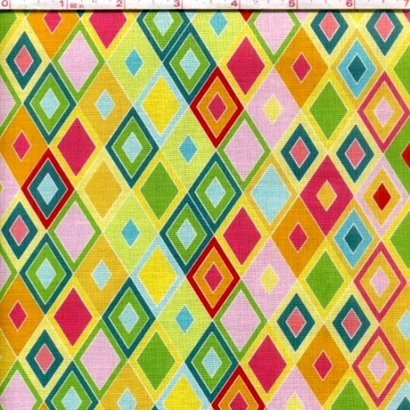 Cotton Quilt Fabric Madhuri Multi Color Triangles Pink Yellow Green  - product image