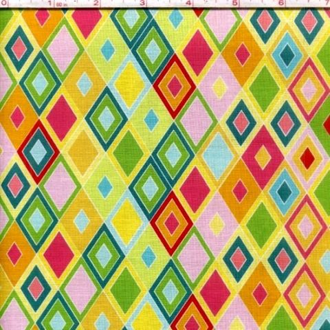 Cotton,Quilt,Fabric,Madhuri,Multi,Color,Triangles,Pink,Yellow,Green,quilt fabric,cotton material,auntie chris quilt,sewing,crafts,quilting,online fabric,sale fabric