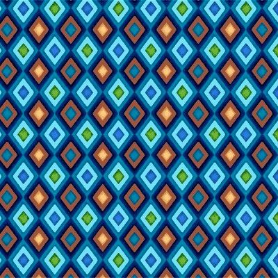 Cotton Quilt Fabric Winter Games Argyle Check Boys Quilts Blue Brown - product image