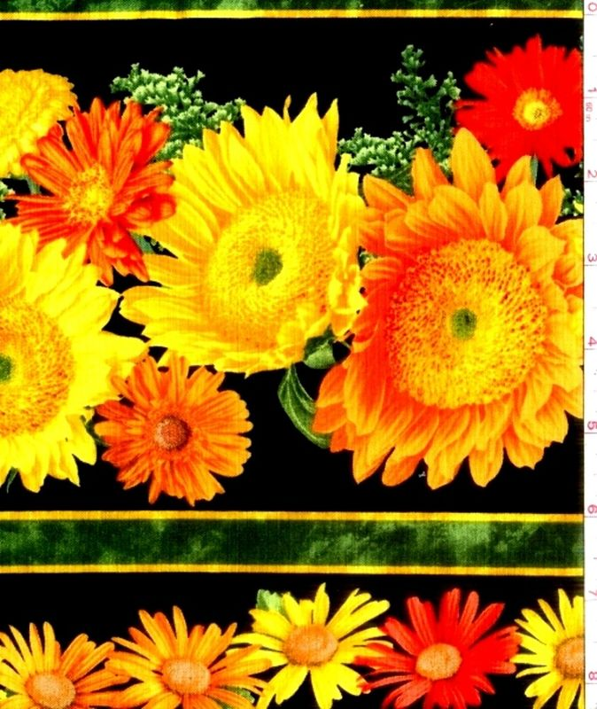 Cotton Quilt Fabric Sunshower Sunflowers Large Border Stripe Autumn  - product image