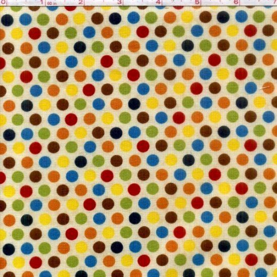 Cotton Quilt Fabric Sunshine Zoo Red Green Blue Beige Polka Dots  - product image