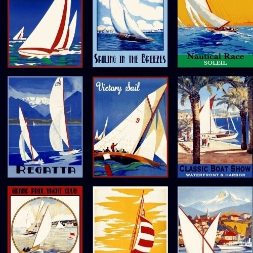 Cotton Quilt Fabric Sail Away Vintage Sail Boat Nautical Ocean Lovers Panel - product images  of