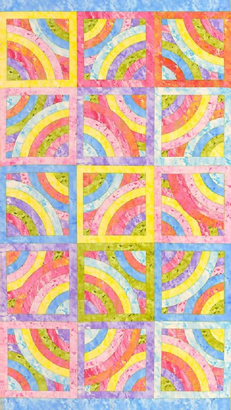 Cotton Quilt Fabric  Batik Look Circles of Love Pastel Blocks Panel - product images  of