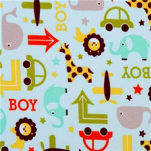 Oh Boy Riley Blake Elephant Planes Whale Aqua Blue - product images  of