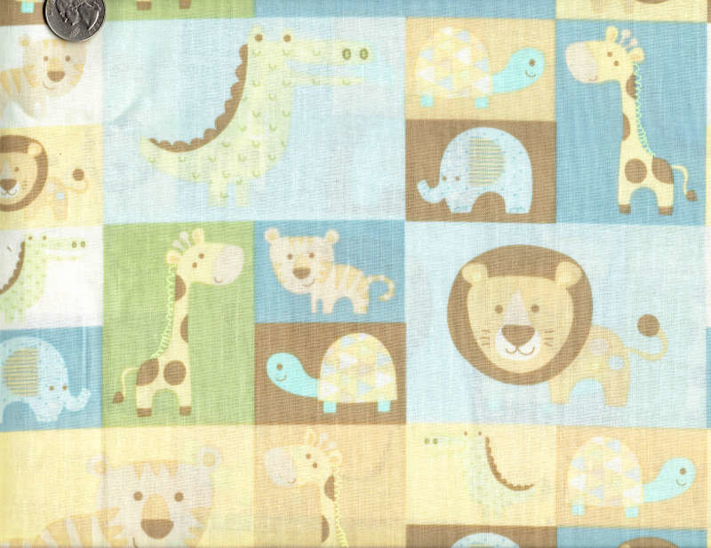 Cotton Quilt Fabric Jungle Patch Baby Animal Lion Tiger Elephant  - product image