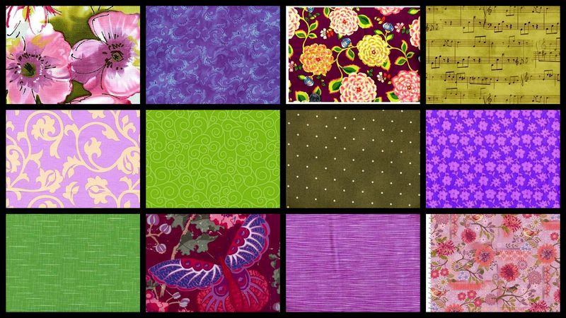 Violet Fields Garden Stash Builder Purple Green Quilt Fabric 3 Yards - product images  of
