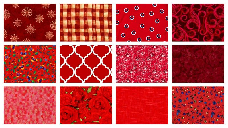 Seeing Red Stash Builder Quilt Fabric Red Mix 3 Yards - product images  of
