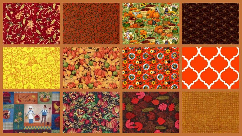 2 Yard Stash Builder Autumn Harvest Fall Theme Quilt Fabric - product images  of