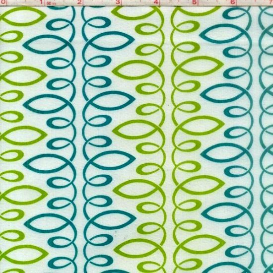 Cotton Quilt Fabric Bloom Modern II Loopy Green Teal Multi White - product image