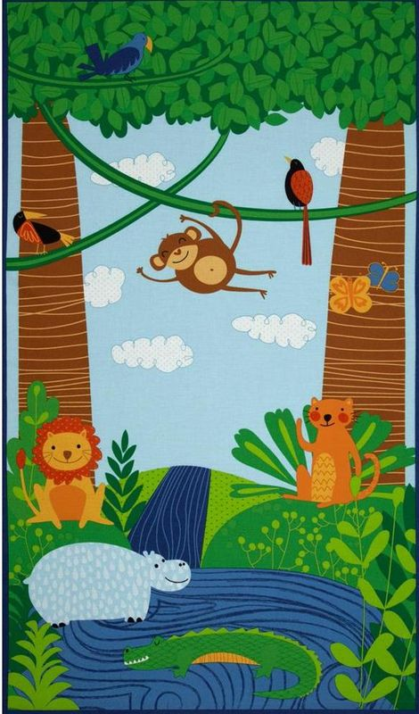 Quilt Fabric Panel Rainforest Fun Monkey Hippo Lion Animals - product images  of